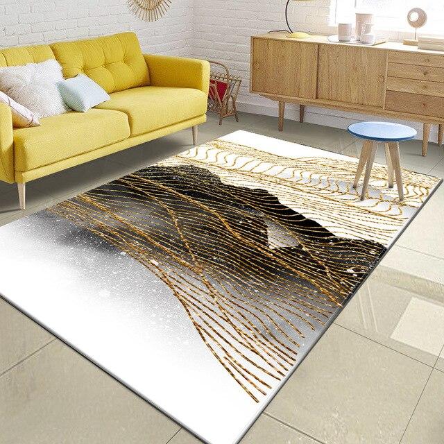 Moda abstrato estilo nórdico tinta linhas douradas sala de estar quarto tapete de veludo escritório antiderrapante decoração tapete feito sob encomenda