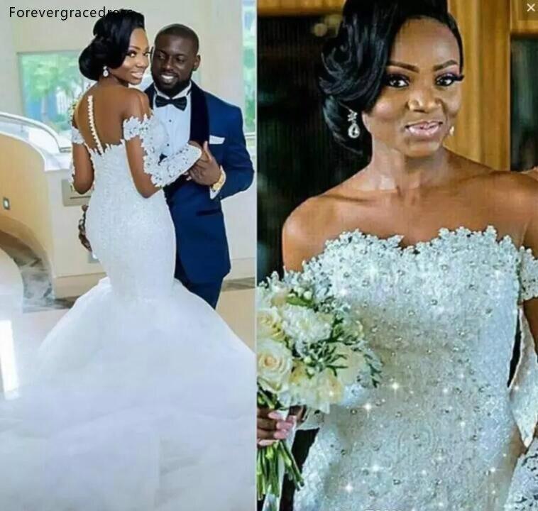 Robes de mariée sirène manches longues 2019 filles noires sud-africaines perlées pays jardin mariée formelle robes de mariée grande taille