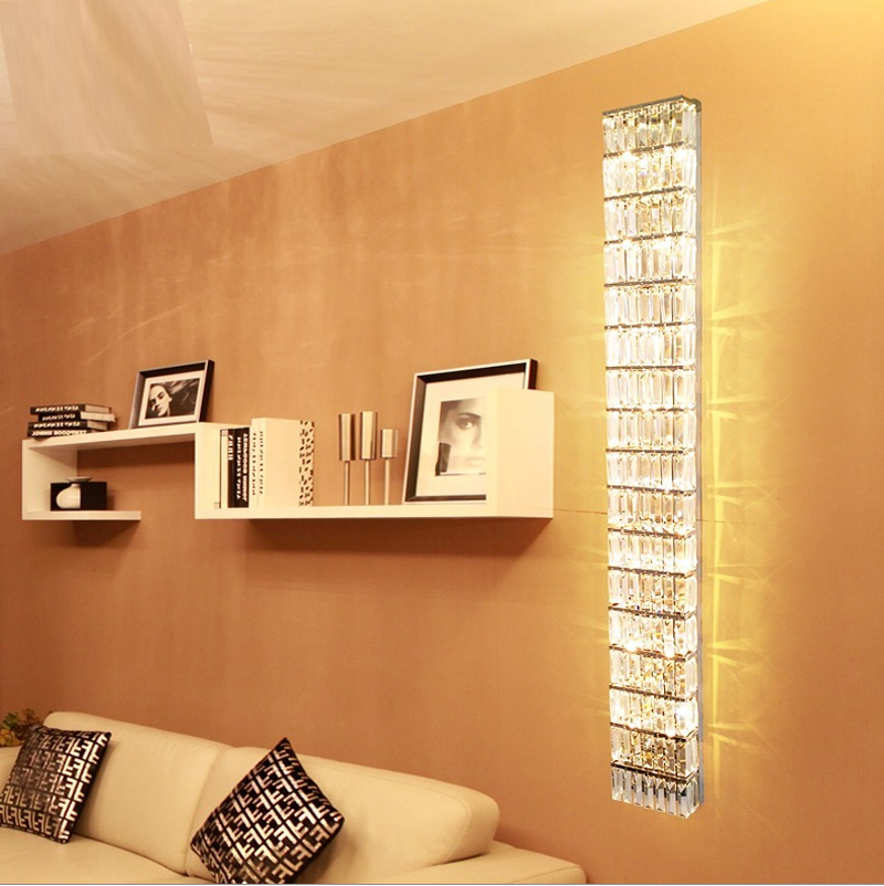 modern wall sconces living room decor beige sofa parlor tall crystal lamps ktv large long sconce abajur hallway led indoor lights in from