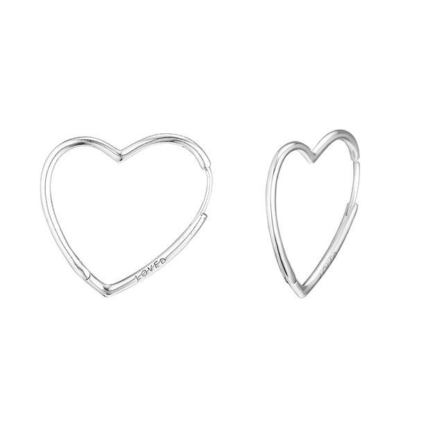 Genuine 925 Sterling Silver Large Earrings for Women Asymmetric Hearts of Love Hoop Earrings Party Wedding Gift Fine Jewelry