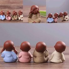 1PC Handmade Buddha Tea Pet Purple Sand Buddha Monk Tea Tray Decor Kung Fu Tea Set Home Ornament Gift 3.5*4.3cm(China)