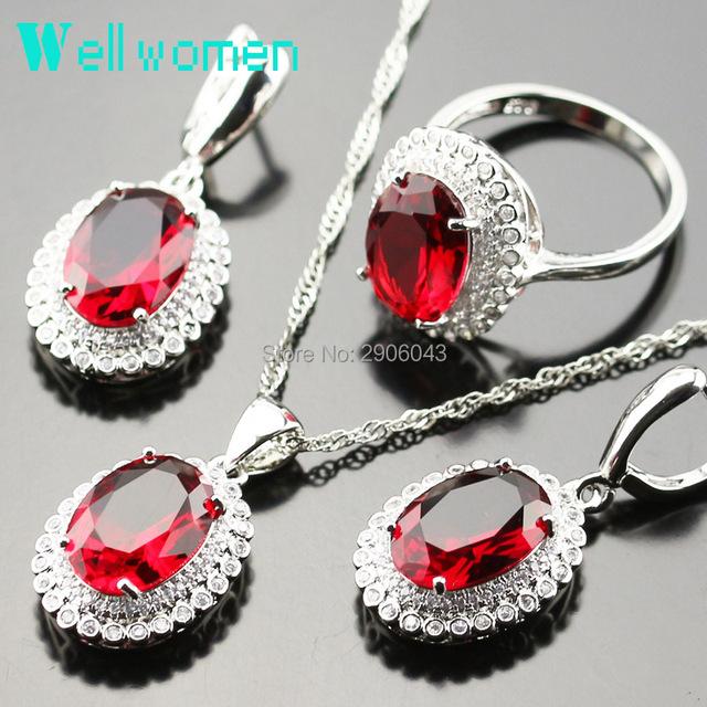 925 Logo Silver Color Women Party Sets Red Created Garnet Necklace Earrings Ring Jewelry