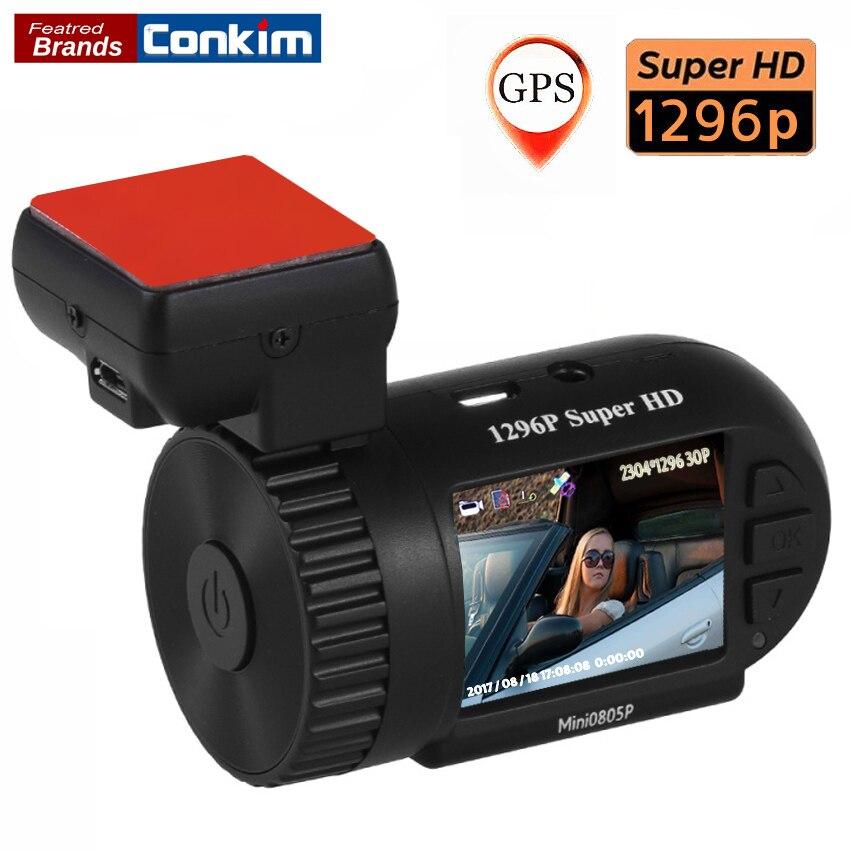 Conkim Mini 0805 P del coche Dash Cámara 1296 P 30fps H.264 WDR GPS DVR Video Secretario Sensor de aparcamiento de protección de bajo voltaje condensador