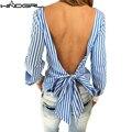 WINDGIRL женщин blackless блузка синий полосатый с длинным рукавом sexy women топ ropa mujer camisa xadrez feminina vetement femme