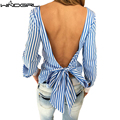 WINDGIRL mulheres blackless blusa azul listrada manga longa mulheres sexy top camisa xadrez feminina vetement femme ropa mujer