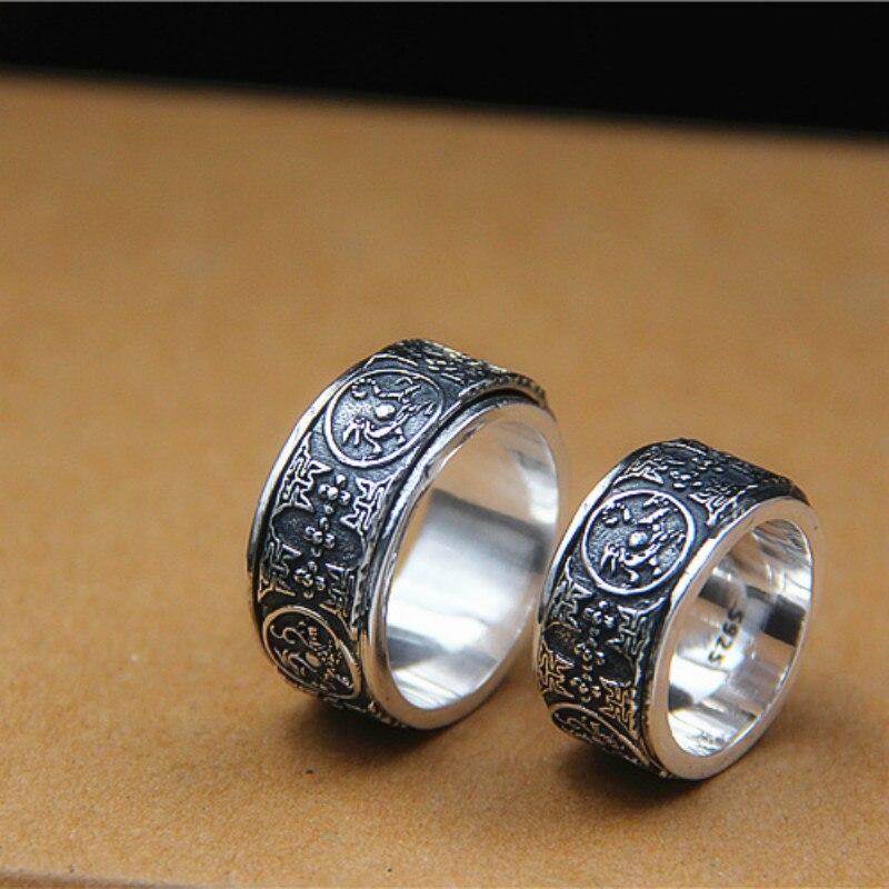 Nouvelle offre spéciale chaude véritable Anel Feminino Rosefinch Tsing poumon anneau Thai restauration anciennes façons est quatre grand dieu bête tournant