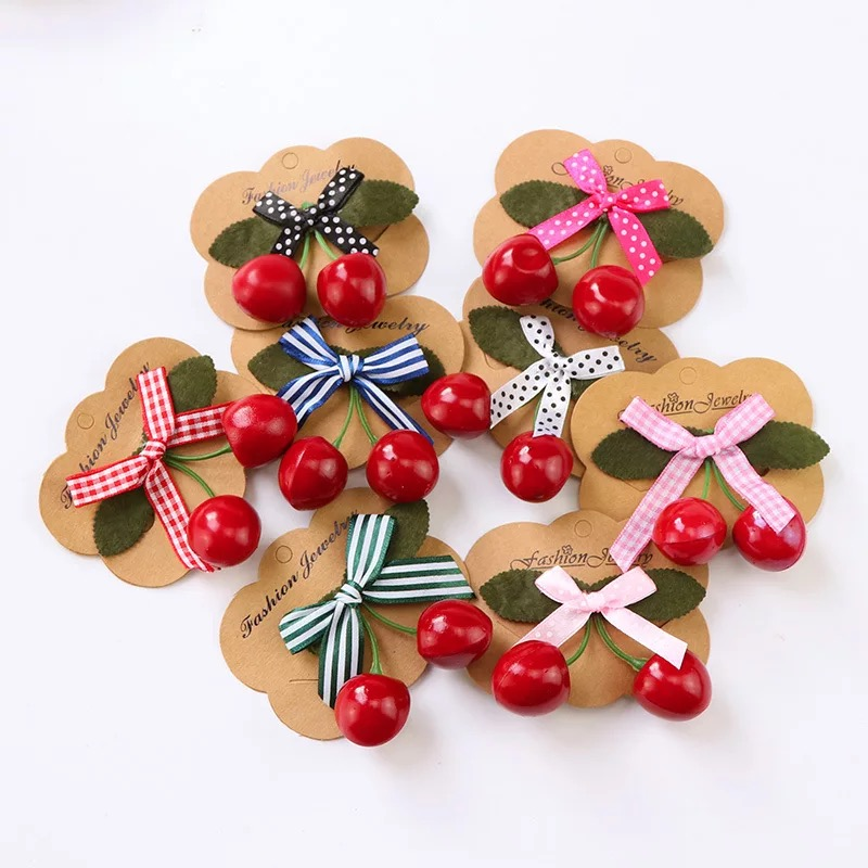 1pcs Girls Retro Vintage Rockabilly Hair Band Kawaii Lovely Red Cherry Bow Hair Clip Accessories