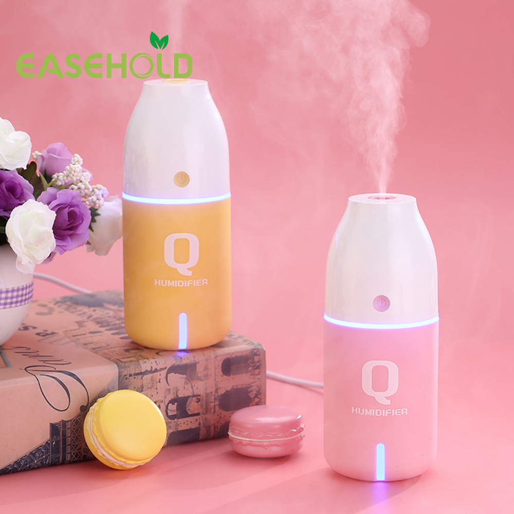 EASEHOLD New 150ml USB Q Bottle Humidifier Ultrasonic Car Air Humidifiers Mist Maker Night Light Mini Household Air Purifier 5pcs lot 8 130mm replacement cotton swab for air ultrasonic humidifiers mist maker humidifier part replace filters can be cut