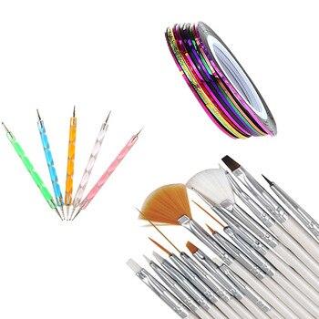 30PCS Nail Art Design Dotting Painting Drawing Polish Brush Pen Tool Nail Striping Tape Tool Kit Set Wholesale & Drop Shipping Nail Art Kits