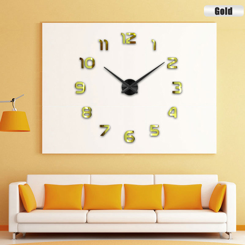 DIY Large Wall Clock 3D Mirror Surface Sticker Home House Office ...