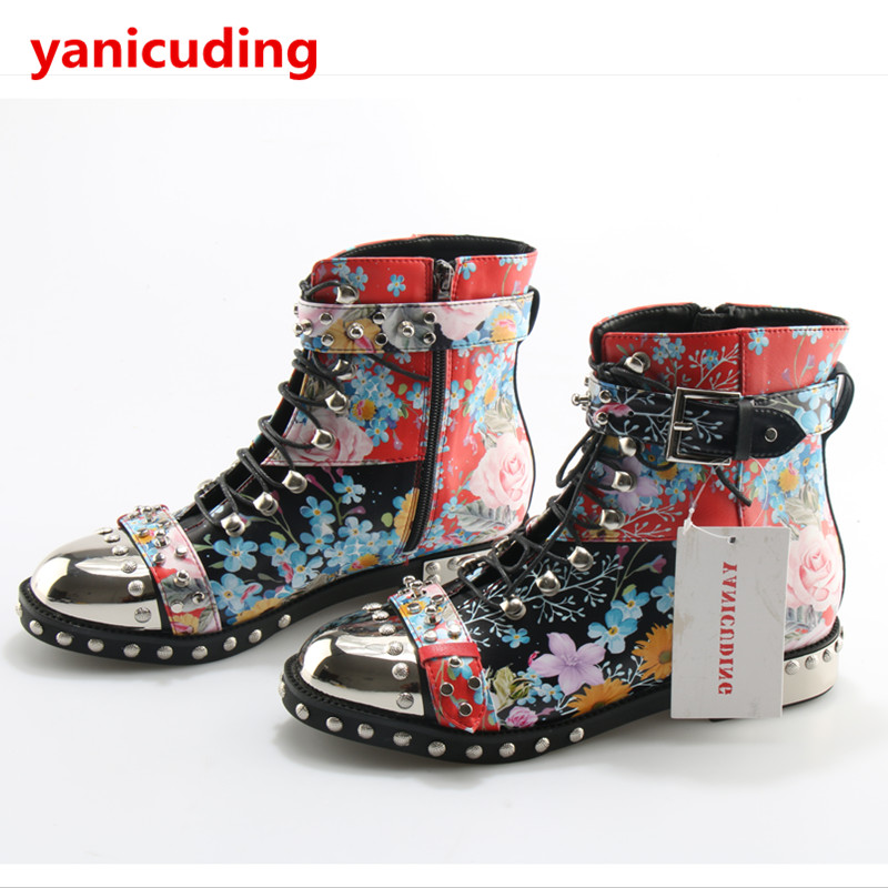 yanicuding Round Toe Punk Chic Women Ankle Boots Lace Up Style Shoes Buckle Closure Rivets Embellished Flower Decor Short Bootie yanicuding round toe women flock ankle booties metal short boots zip design luxury brand fashion runway star autumn shoes flats