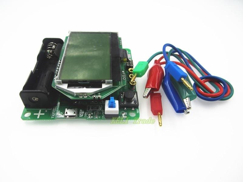 Mega328 Digital Transistor Tester Diode Triode Capacitance ESR Meter MOS/PNP/NPN LCR TESTER METER 12864 LCD screen