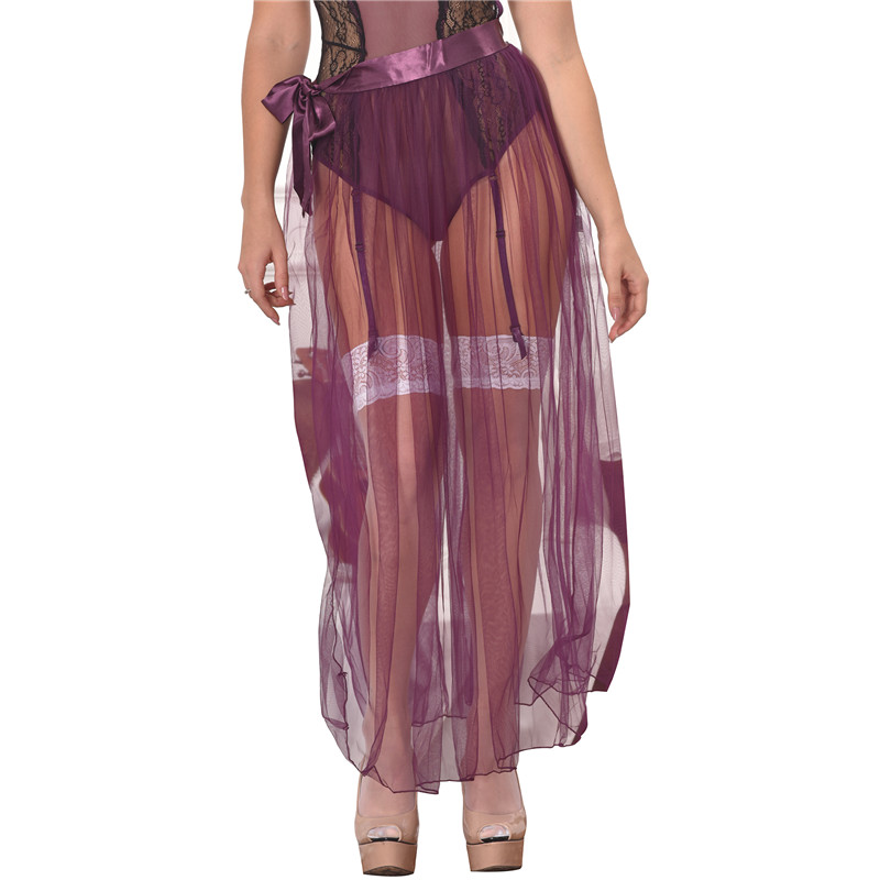 RS80272 Skirts Womens New Arrival Hot Sale Purple Transparent Skirt Solid Plus Size XL Sexy Skirts Womens 2019 See Through