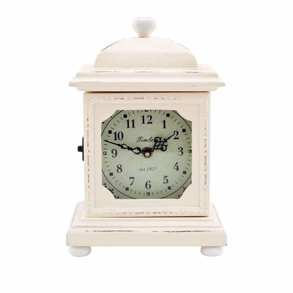 table clock creative vintage home decoration mdf mantle clock cream 28cm h - Mantle Clock