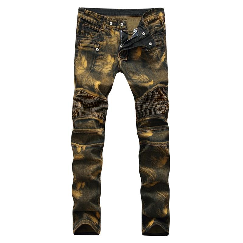 Mens Golden Skinny Pleated Biker Jeans Men Slim Jeans Pants Male Autumn Winter Straight Leg Jeans Hombre Big Size 38 40 42