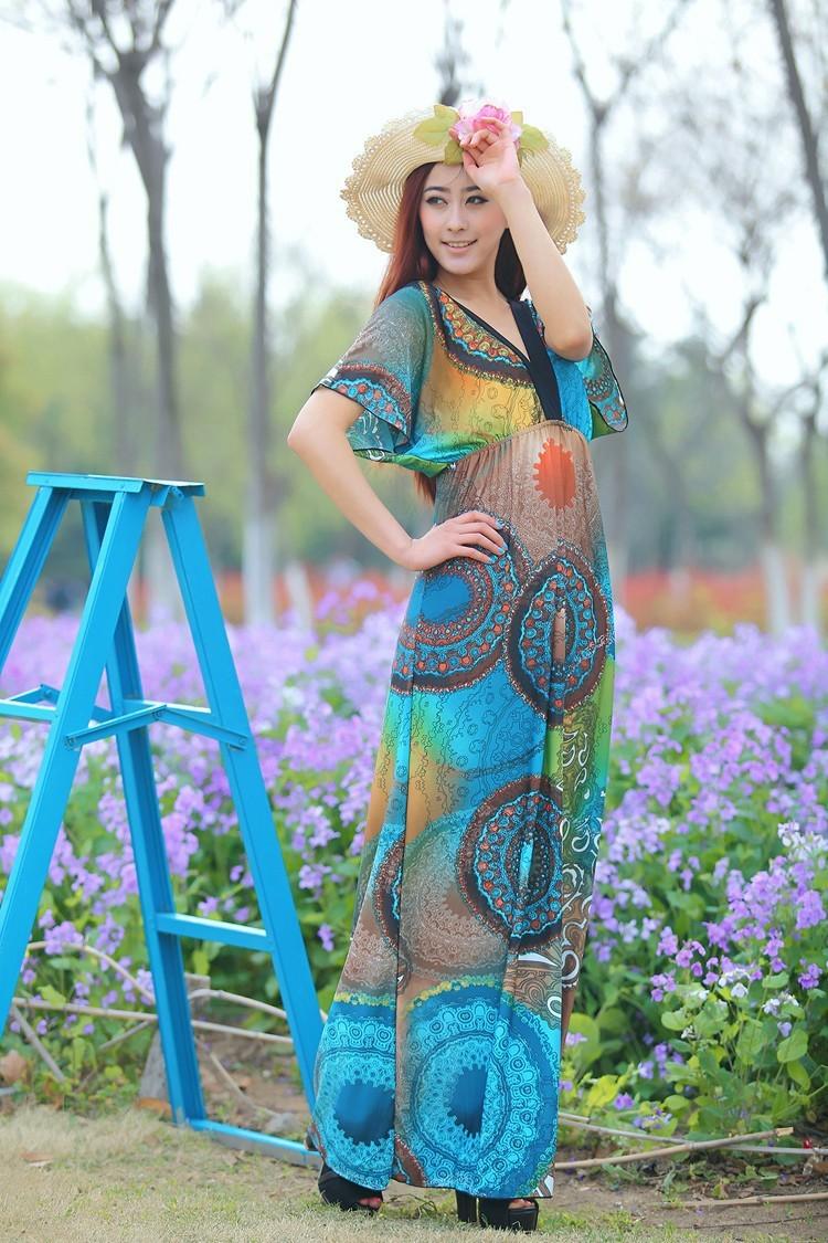 Boho Print Maxi Dress 6XL 7