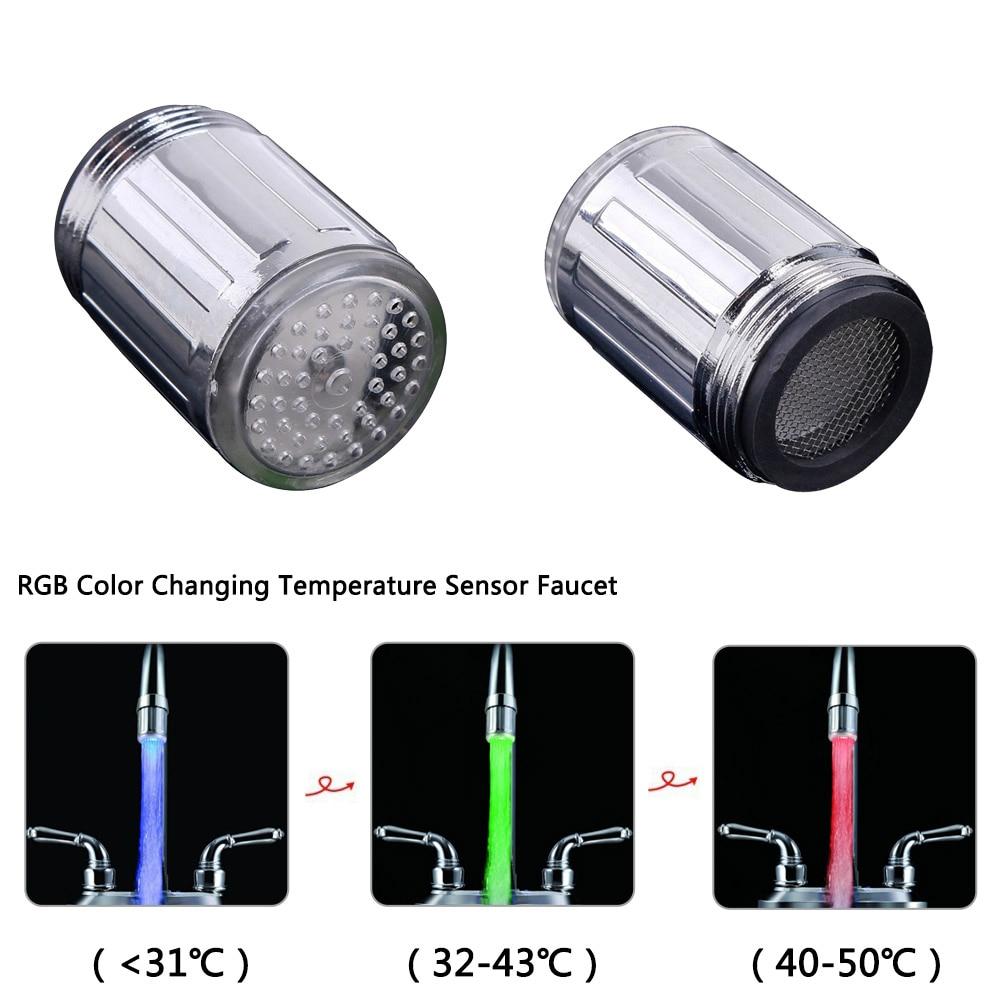 Luminous LED Light Water Faucet Kitchen Bathroom Basin Tap Nozzle Colorful Heater Thermostat Faucet Accessories 3 Color 7 Colors