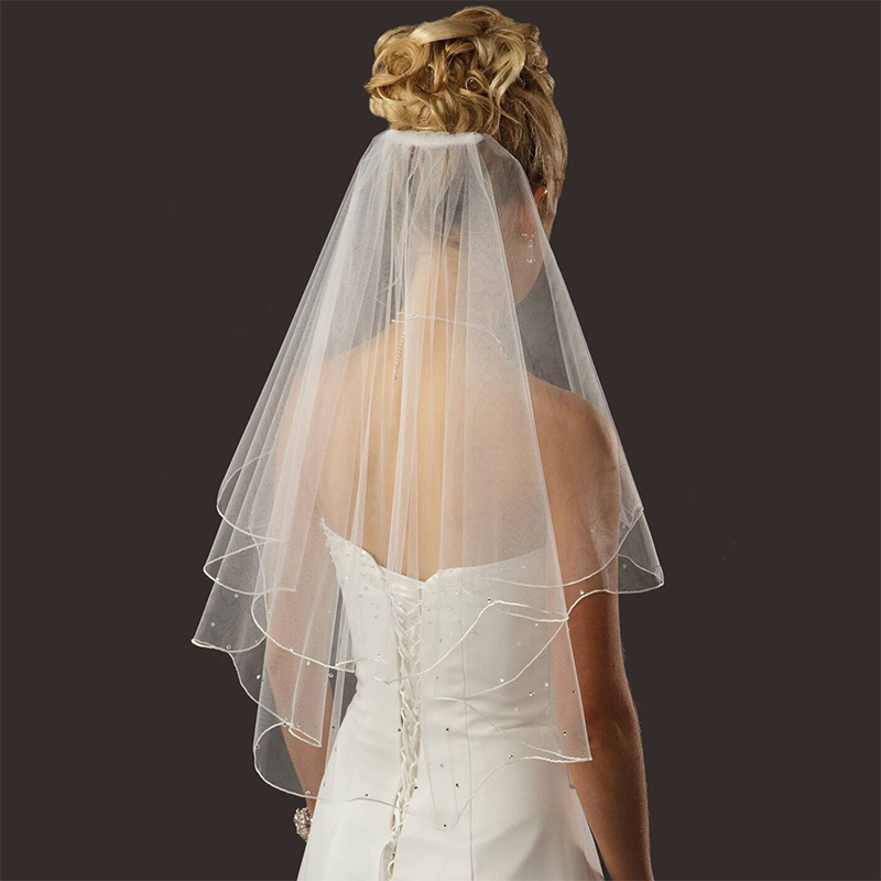 Bridal Wedding Simple Veil White Ivory 2 Tier Short Elbow Length Pencil Edge