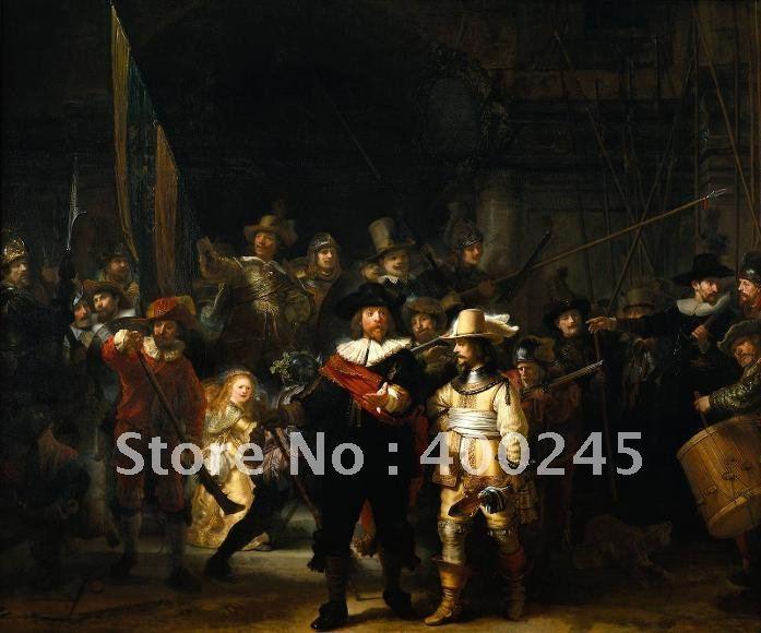 Холст, масло Классическая известная картина ночной дозор Рембрандта (Ван Рейн) 100% ручной работы высокого качества Бесплатная доставка