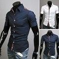Corrió oferta especial Camisas cortas Camisas verano ropa decoración del bloque del Color camisa de mangas cortas