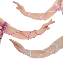 Oriental Dance Costume Accessories Arm Sleeve Stretch Cross Strap Adjustable Sequins Belly Armband 1 Piece