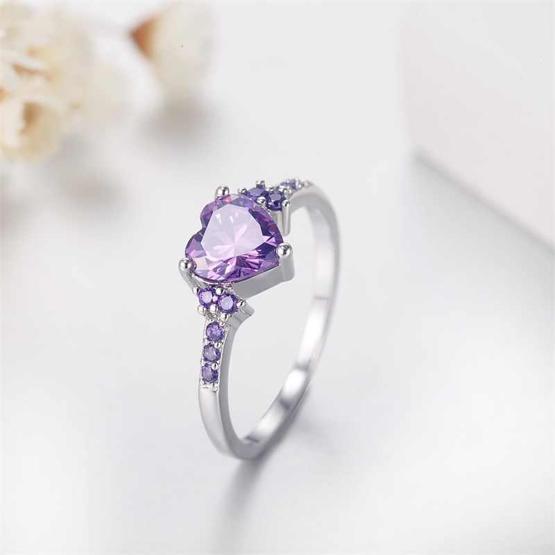 95%-ная скидка! YANHUI, новое модное Оригинальное 925 пробы Серебряное кольцо с сердечком, романтическая любовь, фиолетовое CZ ювелирное изделие с кристаллами, кольца для женщин HR998