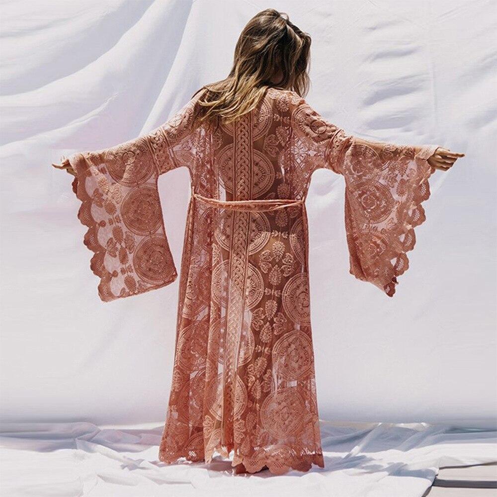 Vintage Kimono Kant Vest Vrouwen Jurk Flare Mouwen Bloemen See Through Losse Blouse Bohemian Maxi Lange Strand Overhemd Plus Size-in Blouses & Shirts van Dames Kleding op  Groep 3