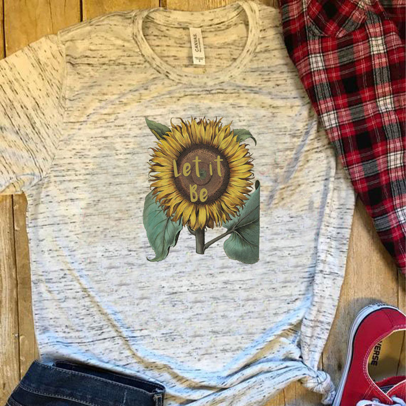 Women Casual T-shirts 2019 Polyester Round Neck Funny Print Sunflower T-shirt Tees Let It Be Tshirts Girls Gift Tops 90s 00s