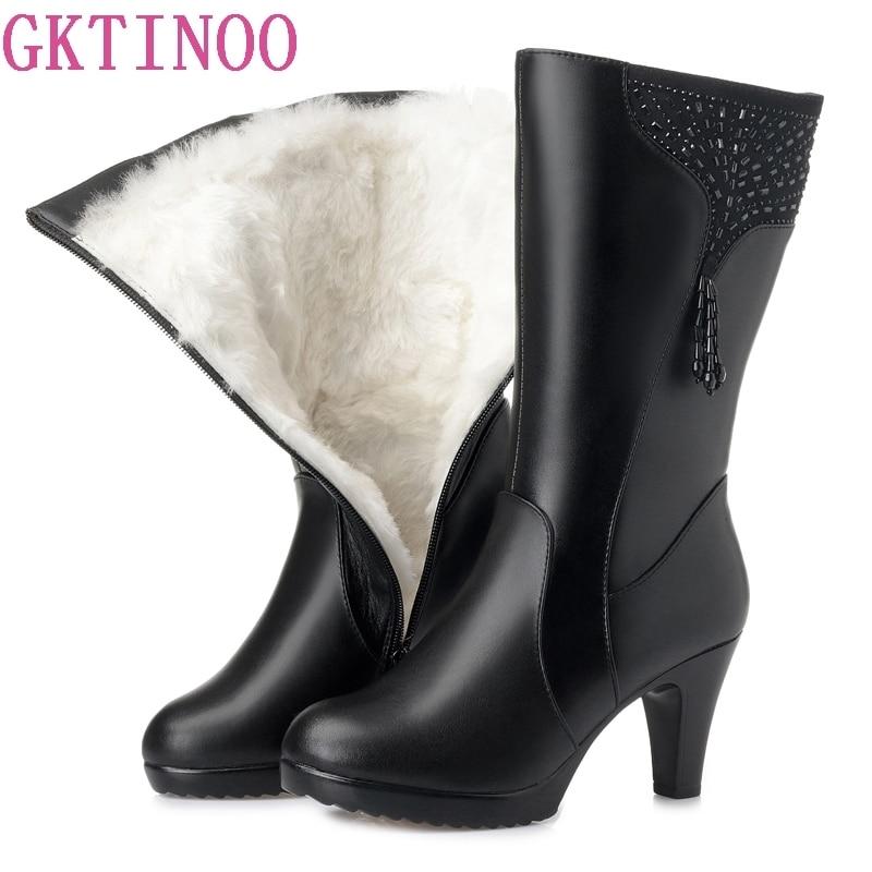 GKTINOO Winter Boots Wool Fur Inside Warm Shoes Women Genuine Leather Shoes High Heels Boots Footwear