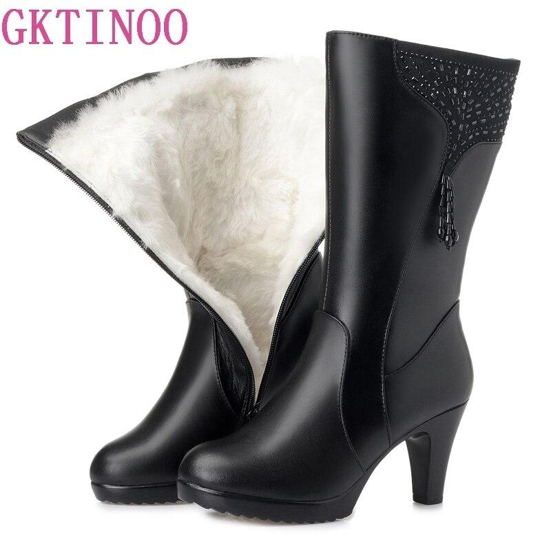 GKTINOO bottes d'hiver en laine fourrure à l'intérieur des chaussures chaudes femmes chaussures en cuir véritable talons hauts bottes chaussures Botas grande taille 35 43-in Bottines from Chaussures    1