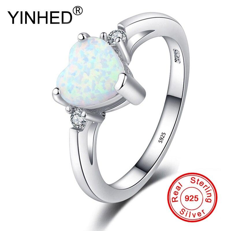 YINHED Moda 925 Anel de Zircão Anéis de Opala de Fogo Branco de Prata Para A Mulher Presentes de Casamento Declaração Anel de Noivado Tamanho 5-10 RA0188
