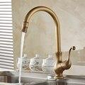Free Shipping Kitchen taps/cozinha/faucet Antique Brass Swivel Spout Kitchen Faucet Single Handle Vessel Sink Mixer Tap HJ-6715F