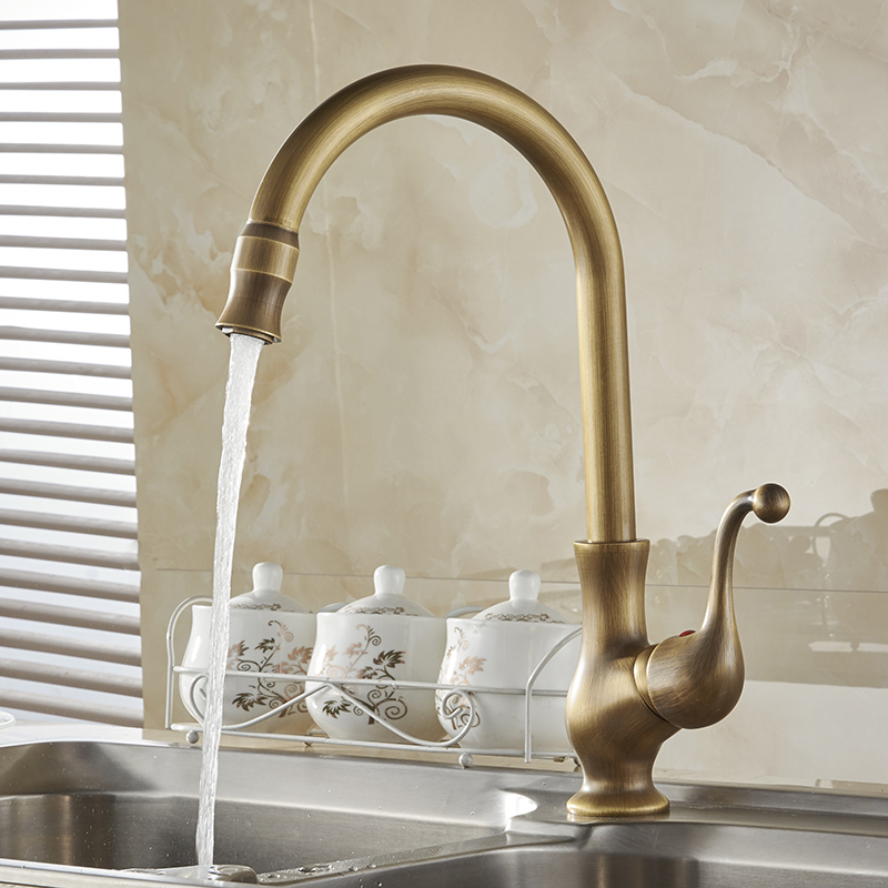 Kitchen Taps/Cozinha/Faucet Antique Brass Swivel Spout Kitchen Faucet Single Handle Vessel Sink Mixer Tap Free Shipping HJ-6715F antique brass swivel spout dual cross handles kitchen