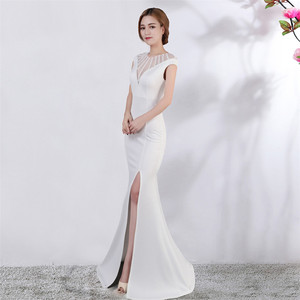 Image 2 - Its Yiiya Evening dress V neck Short sleeves Beading Party gowns Sexy Floor length zipper back Formal Mermaid Prom dresses C174