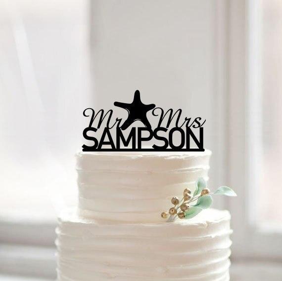 Wedding Cake Topper, mr and mrs Starfish Beach Nautical Wedding ...