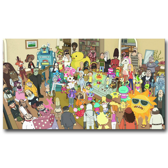 Rick and Morty Art Silk Fabric Poster Print 13×24 20×36 inch Cartoon Picture For Living Room Decor Back To The Future 024