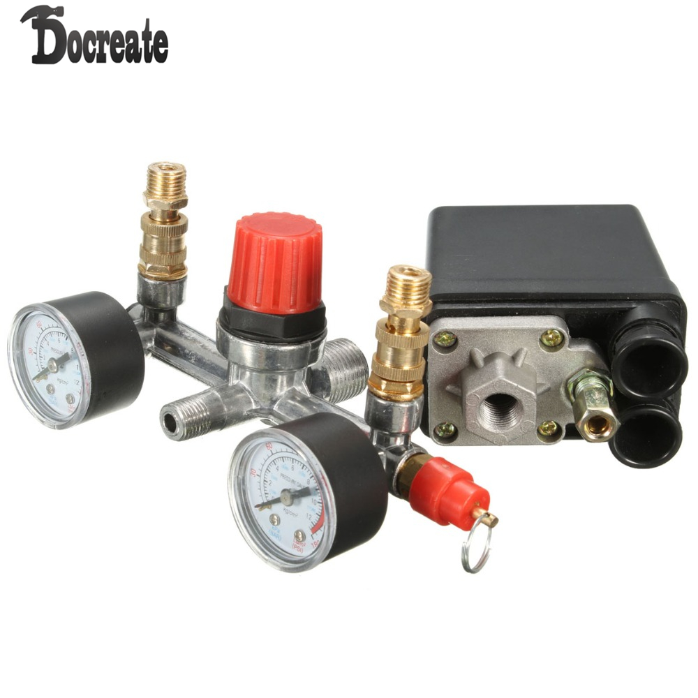 Air Compressor Pump Pressure Switch Control + Valve Gauges Regulator vertical type replacement part 1 port spdt air compressor pump pressure on off knob switch control valve 80 115 psi ac220 240v