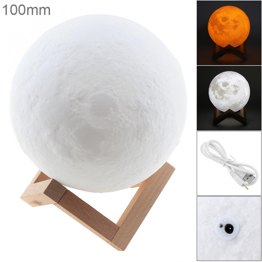 10CM Rechargeable 3D Print Moon Lamp with 2 Color Change Touch Switch Support Long Press The Switch to Adjust The Brightness