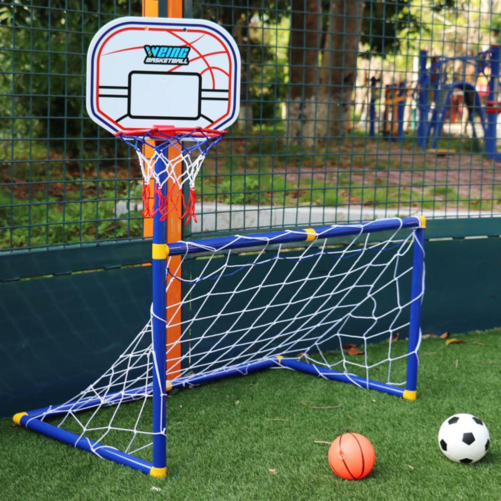 Soccer Goal Pool With Basketball Hoop Set For Kids 2 In 1 Outdoor Sports Basketball Stand Soccer Goal(China)