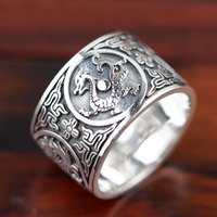 FNJ Dragon Ring 925 Sterling Silver anillos Punk Four Animal Vintage S999 Thai Silver Rings for Women Men Jewelry