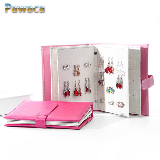 Women Gift Stud Earrings Collection Book Pu Leather Earring Storage Box Creative Jewelry Display Holder Jewellery