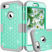 Hybrid Armor Cover for Iphone 8 Plus Soft Case Diamond 3 in 1 Silicone Shockproof Phone Cases for Iphone 8 8+ Heavy Duty Cover
