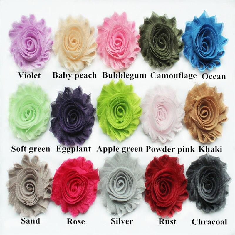 24 ярдов/партия, 2,5 ''потертые цветы, повязка на голову потертые цветы 28 цветов