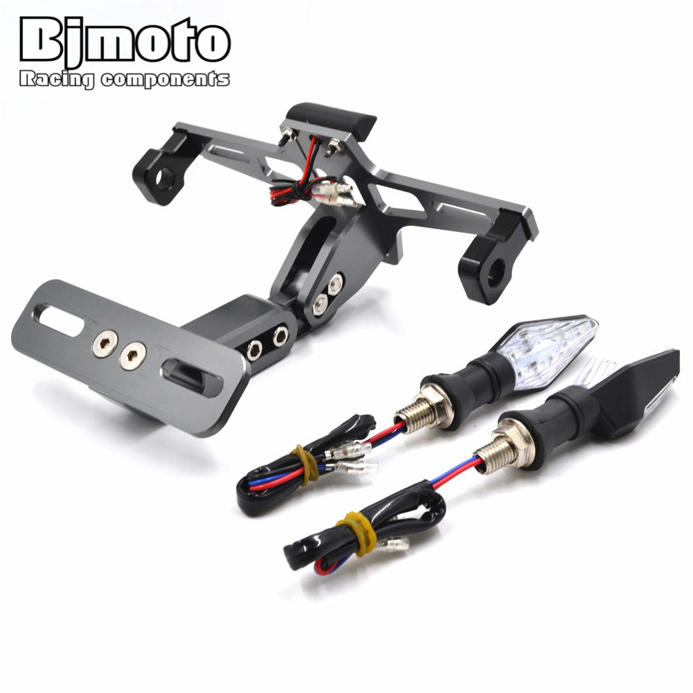 Universal Motorcycle Adjustable Angle License Number Plate 2000 Yamaha T50 Outboard Wiring With Led Turn Signal Light Frame Holder Bracket For Honda