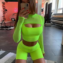 Cryptographic Neon Green Sexy Two Piece Set for Women Fashion Matching Sets Cut-Out Tops Tees Cropped High Waist Biker Shorts