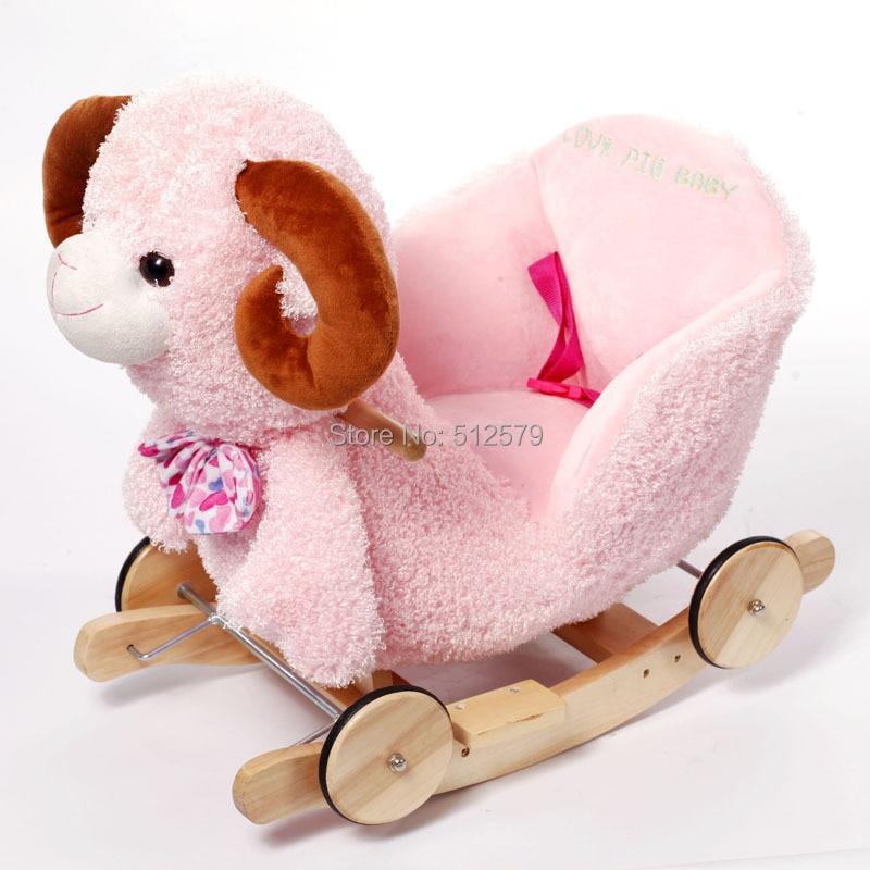 Kingtoy Plush Baby Rocking Sheep Chair Children Wood Swing Seat Kids Outdoor Ride on Stroller Toy