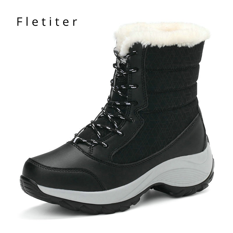 Women Boots Waterproof Winter Snow Boots woman With Fur Ankle Boots Warm Wedges Platform Shoes Fashion Rubber Female Footwear gdgydh 2018 fashion new winter shoes platform warm fur snow boots women lacing round toe shoe female wedges ankle boots female
