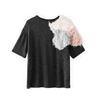 Summer Round Neck Fleece Patchwork Women S T Shirt