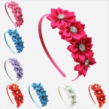 Сатиновая лента с цветами для девочек, детская лента для волос для девочек, повязка для волос для малышей и детей постарше, головная повязка принцессы, Детские аксессуары