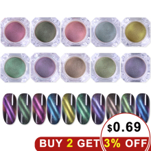 hot deal buy 1box 3d cat eyes magnetic nail chrome powder magnet shinny nail art glitter pigment powder colorful nail glitter for nails